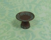 Dollhouse Miniature Deep Copper & Verdigris Compote Pedestal Bowl