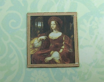 Dollhouse Miniature Framed Renaissance Lady Art Print