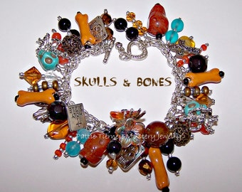 SKULLS and BONES Day of the Dead Artisanal Charm Bracelet