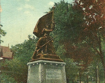 Vintage 1910s Postcard Jackson Michigan Soldiers and Sailors Monument Statue Garden Withington Park Divided Back Era Postmarked