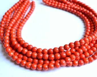 The Michelle- Orange Magnesite Statement Necklace