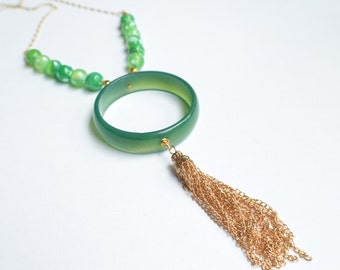 The Tanya- Green Agate Hoop and Gold Tassel Chain Necklace