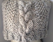 Gray Tweed Wrap Hand Knit Cabled Capelet Chunky Shawl Short Poncho