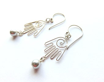Hamsa Hand Earrings - Sterling Silver Talisman Earrings - Pearl Dangle Earrings - Long Pearl Earrings - Hamsa Jewelry - Good Luck Earrings