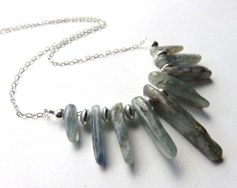 Blue Raw Kyanite Stick Necklace, Kyanite Bib Necklace with Sterling Silver Chain, Natural Kyanite Shards, Gemstone Points, Blue and Silver