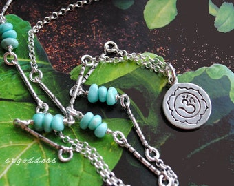 OM LOTUS campitos turquoise and sterling silver length choice and clasp choice necklace by srgoddess