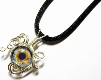 Wire Wrap Handmade Glass Taxidermy Italian Evil Eye Pendant with Necklace 1
