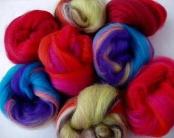 Set of 8 softest merino mini batts, nuno felting fiber, needle felting wool, felting fiber, carded wool, batt, batting, 20 micron, 2.8oz,80g