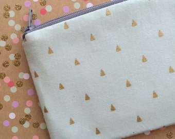 Gold triangles -  Zipper Pouch - wallet  - change purse - mint and gold Coin Purse
