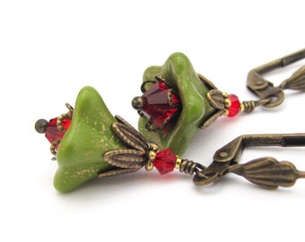 Green Flower Earrings Red Swarovski Crystal Woodland Fairy Wedding Boho Jewelry Lever Back or Clip On