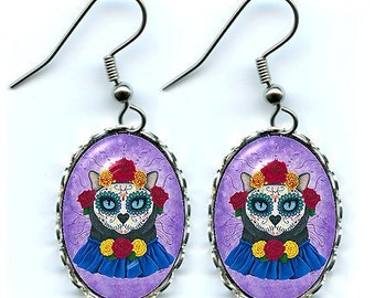 Day of the Dead Cat Earrings Mexican Sugar Skull Gothic Cat Art Cameo Earrings 25x18mm Gift for Cat Lovers Jewelry