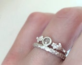 Raw Rose Cut Diamond Twig Wedding and Engagement Ring Set in Sterling Silver - Pine Branch and Live Oak Twig Ring Set