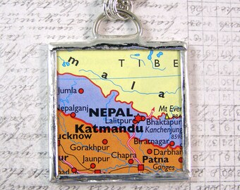 Nepal Map Double Sided Pendant Necklace