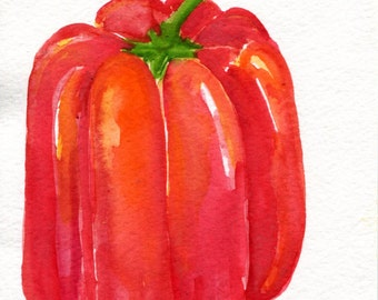 Red Bell Pepper original watercolor Painting 5 x 7, pepper illustration, food art, kitchen wall art Farmhouse Decor