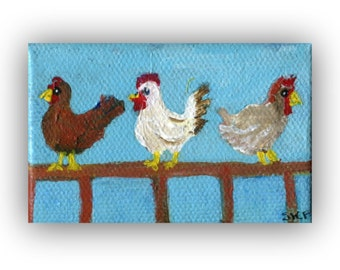 Miniature chickens acrylic painting canvas art, mini Canvas with easel, Chicken art, mini chicken, hen, rooster art 2 x 3