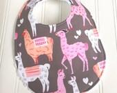 Baby Bibs for Girl  - Single Bib - Triple Layer Chenille  - Llamas, Pink, Tangerine, Gray - PINK ALPACAS