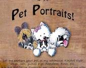 One ACEO Size Custom KiniArt Pet Portrait Art
