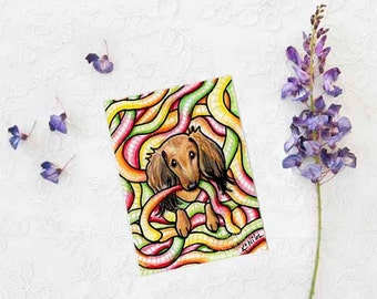 ORIGINAL Drawing Dachshund Dog Art ACEO Candy Worms