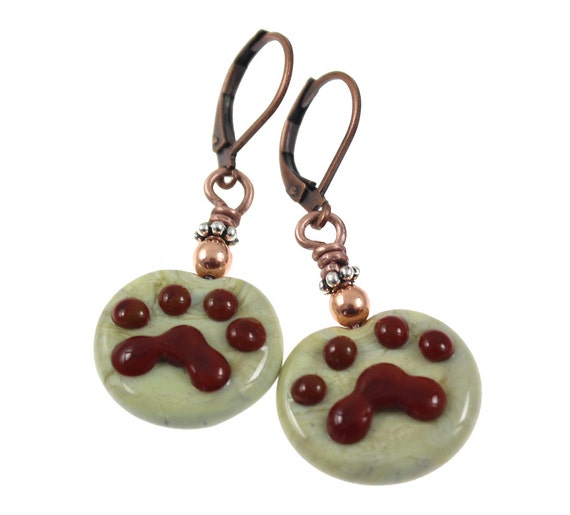 Paw Prints - Glass Lampwork Earrings