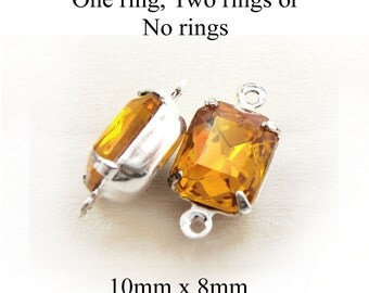 Golden Topaz Vintage Glass Beads, Octagon, Silver Plated Brass Settings, Rhinestone, 10mm x 8mm, Cabochon, Glass Gems, Rhinestones, One Pair