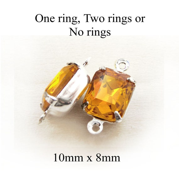 golden topaz glass octagon beads in silver or brass settings