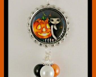"Jasmine Becket-Griffith "" Halloween Night "" bottlecap necklace"