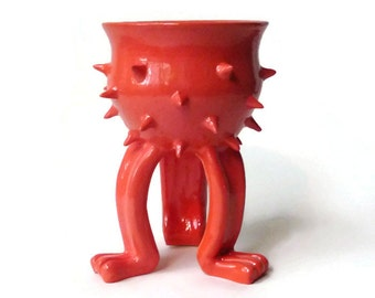Ceramic Planter - Bright Orange/Pink Grouchy Planter Pot with Spikes and Sculpted Feet
