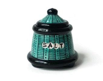 Ceramic Salt Jar with Feet - Turquoise Black