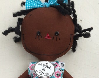 cloth rag doll African American handmade Olivia in turquoise pink and black