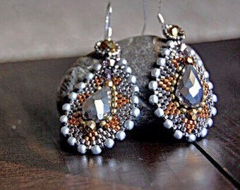 Silver and gold, bridal earrings, bead weaving, fire polish, glass beads, opaque, teardrop earrings
