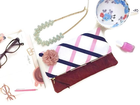 Pink Striped Grid Foldover Leather Clutch, Linen Striped Leather Zipper Pouch, Fold over Clutch Bag, Marimekko Fabric Clutch, 144 Collection
