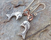 Sweet FISH earrings, MIXED METALS earrings, Karen Hill Tribe silver, Copper, Gold Filled, Silver
