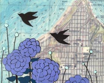 Alki / 5 x 5 Map Painting / Washington Art / Map Art / Modern Decor / Modern Flower Art / Bird Art / Seattle / Wedding Gift