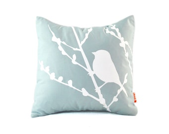 Light Blue Bird on Cherry Blossom - Mini 10.5 Inches Square Pillow