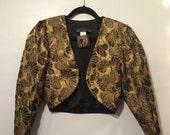 Vtg Bolero GOLD LEAF Cropped Lame' Jacket sz S / M