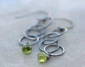 ON SALE Peridot Earrings Sterling Silver Green Earrings Green Drop Earrings Green Chain Earrings Modern Green Earrings Gifts for Her, Boho