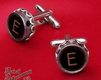 Vintage Silver TYPEWRITER KEY CUFFLINKS Steampunk Monogram Initial Black Brown