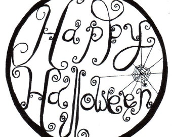 Happy Halloween Red Rubber Stamp-Large or Small -Original cute design 03101, 03109 halloween rubber stamp
