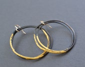Steel & Gold Heavy Gauge Hoops- large double hoop earrings