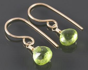 Peridot Earrings. Gold Filled Ear Wires. Genuine Gemstone. August Birthstone. Lightweight Earrings. f16e107