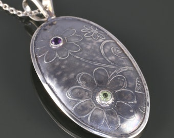 Etched Sterling Silver Pendant. Floral Design. Sterling Silver Necklace. Genuine Peridot. Genuine Amethyst. One of a Kind. s16p009