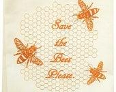 NEW Save the Bees tea towel ORGANIC cotton