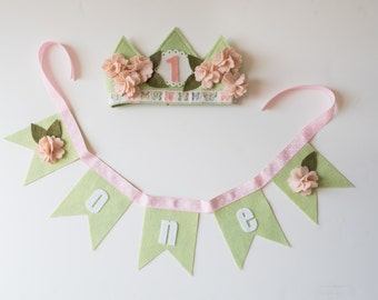 PARTY PACK // SHABBY Cherry Blossom Crown & Bunting  // felt birthday crown //Photo Prop // Smash Cake// Flower Crown