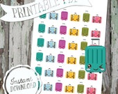 Kawaii Travel Happy Little Suitcase - Printable Planner Stickers - PDF - Instant Download