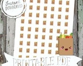Tiny Kawaii Grocery Shopping Reminders - Printable Planner Stickers - PDF - Instant Download