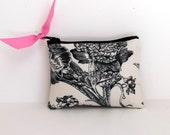 Coin Purse or Business card holder in Botanical Toile du Jouy with Pink Dot lining