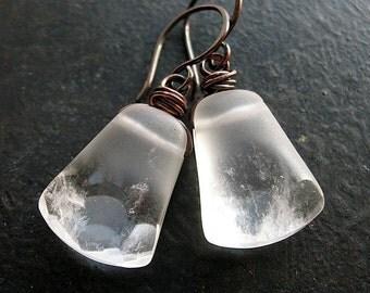 Frosted Rock Crystal Axe Earrings