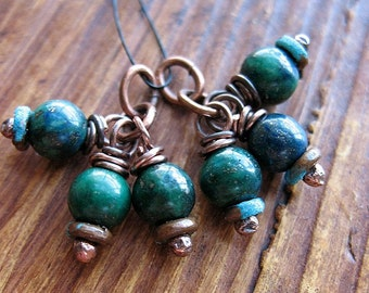 Natural Azurite Malachite and Antiqued Copper Bead Charms - 1 Pair - 6 pieces