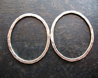 Hammered Organic Oval Links in Antiqued Sterling Silver - 1 pair - 32mm