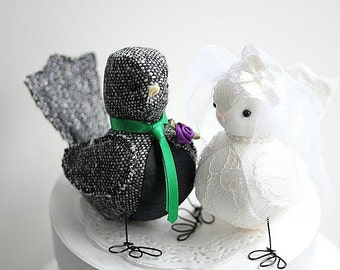 Wedding Love Birds cake topper - Bird Cake Topper - Black Tweed and Black linen Bird Cake Topper - Woodland - MADE TO ORDER